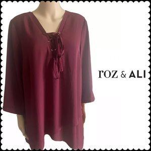 Roz& Ali Burgundy asymmetrical Lace Front Blouse